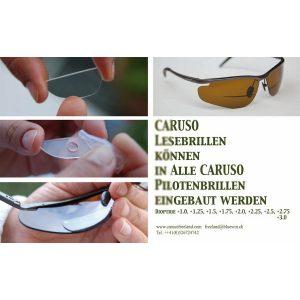 Einbaubarer Lesedioptrie in Pilotenbrille